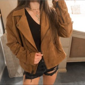 H&M • Brown Suede Leather Collared Zip Up Jacket